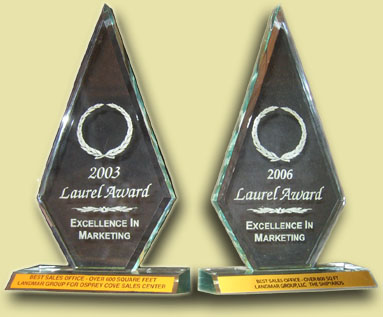 The 2003 and 2006 Laurel Awards for Excellence in Marketing, given for Best Sales Office.